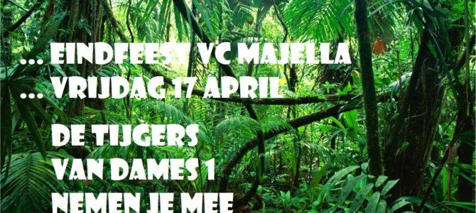 Eindfeest VC Majella: De tijgers van dames 1 nemen je mee de jungle in